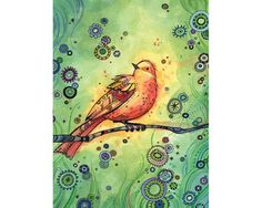 Art Print 8x10 Bird Whimsy in Green and Gold by annibetts on Etsy, $20.00
