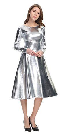 WOLF UNITARD Long Shiny Metallic Dresses For Women B07B7LKLHV Metallic Dress, Silver Dress, Sequin Dress, Pretty Dresses, Beautiful Dresses, Satin Underwear, Leather Dresses, Mermaid Dresses, Ao Dai