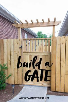 Is your backyards wooden gate looking sad? Or maybe you are building a new fence and are looking for gate ideas. Whatever your reason, here is a DIY tutorial on how to build a wooden gate. garden gate design How to build a wooden gate Building A Wooden Gate, Wooden Garden Gate, Garden Gates And Fencing, Wooden Gates, Wooden Fences, Wooden Gate Designs, Arbor Gate, Arbor Bench, Fence Gates