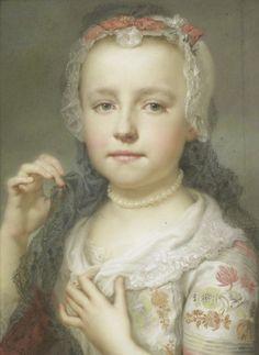 """""""Portret van een jong meisje, waarschijnlijk Julie Carlotta Mengs"""" by Anton Raphaël Mengs (1742-1744)"""