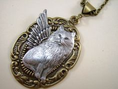 Cat Jewelry Necklace Angel Our Little Darlings by Thecatslave, $28.00