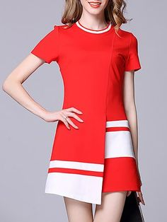 Red Work A-Line Short Sleeve Knitted Sweater Dresses Trendy Dresses, Casual Dresses, Fashion Dresses, Knit Sweater Dress, Sweater Dresses, Long Cocktail Dress, Different Dresses, Luxury Dress, Casual Sweaters