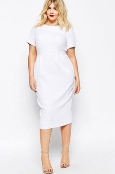 Find the best selection of ASOS CURVE Midi Wiggle Dress in Texture. Shop today with free delivery and returns (Ts&Cs apply) with ASOS! Trendy Dresses, Plus Size Dresses, Plus Size Outfits, Nice Dresses, Casual Dresses, Curvy Girl Fashion, White Fashion, Modest Fashion, Fashion Outfits