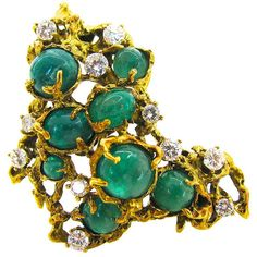 Arthur King Brutalist Emerald Diamond Gold Pendant Brooch | From a unique collection of vintage brooches at https://www.1stdibs.com/jewelry/brooches/brooches/