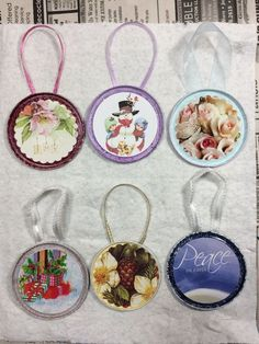tin can lid ornaments, Finished ornaments