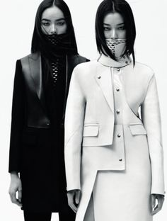 Asymmetric coat with graphic cut, contemporary fashion design // Alexander Wang
