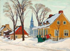 Stretched Canvas Print: Winter Morning in Baie-St-Paul Canvas Art by Clarence Alphonse Gagnon : Stretched Canvas Prints, Canvas Art Prints, Quebec, Clarence Gagnon, Baie St Paul, Canadian Artists, Canadian Painters, Naive Art, Painting Edges