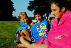 Fun at the lake, drying off in the sunshine at our local lake. #lakeswimming #summercamp #schlossleizen