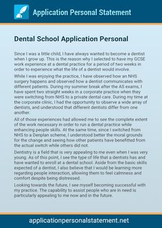 Dental school essay