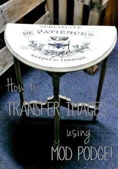 Mod Podge Transfer Technique