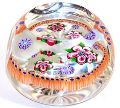 LARGE Exquisite PERTHSHIRE Multi Faceted FLOWER BOUQUET Art GLASS Paperweight