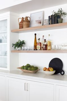 Open shelving is the perfectw way to display your gorgeous glassware and beuatiful bottles. Styling shelves with bar decor is not only a way to showcase your glass pieces, but allows easy access when mixing cocktails! Bar Shelves, Open Shelving, Floating Shelves, Shelf, Home Design, Small Bars For Home, New Builds, Home Accessories, New Homes