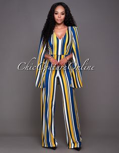 Chic Couture Online - Blake Yellow Blue Stripes Cape Jumpsuit.(http://www.chiccoutureonline.com/blake-yellow-blue-stripes-cape-jumpsuit/)