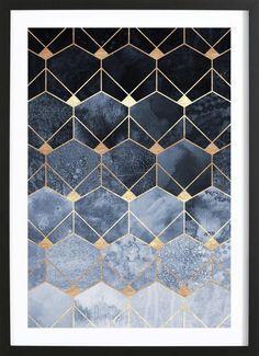 Blue Hexagons and Diamonds en Affiche sous cadre en bois | JUNIQE shop