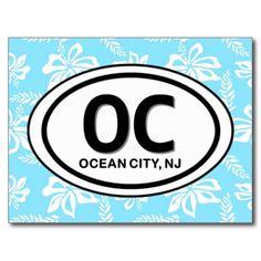 OC Ocean City NJ Blue Postcard