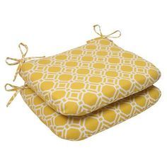 Pillow Perfect Rossmere Outdoor Seat Cushion Color: Yellow / White