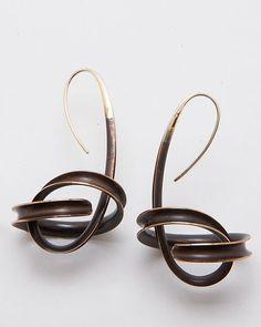 Drop Orbit Earrings: Nancy Linkin: Gold & Bronze Earrings - Artful Home