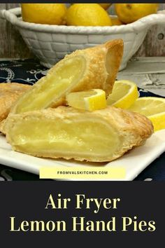 Air Fryer Lemon Hand Pies Recipe - From Val's Kitchen Air Fryer Lemon Hand Pies feature homemade lemon curd encased in a crisp and flaky crust. And, because they're made in an air fryer they're made with a lot less oil than regular fried hand pies. Air Fryer Oven Recipes, Air Frier Recipes, Air Fryer Recipes Dessert, Air Fryer Recipes Potatoes, Hand Pies, Pie Recipes, Cooking Recipes, Healthy Recipes, Easy Recipes