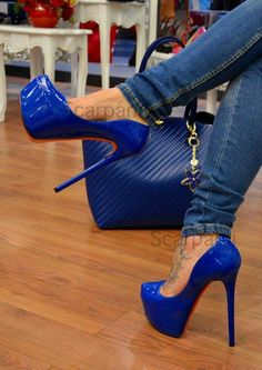 hot high heels and skirts Blue High Heels, Very High Heels, Hot High Heels, Platform High Heels, High Heels Stilettos, Stiletto Heels, Shoes Heels, Cute Heels, Sexy Heels