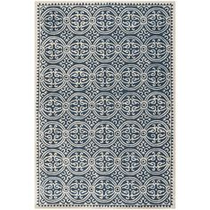 The geometric Oriental pattern of this handmade wool rug draws the eye to its attractive navy blue backing. The clean lines of the design will complement most modern decor, and the rug's hand-tufted wool construction offers rugged comfort for your feet.