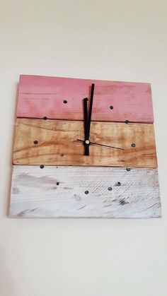 Reclaimed Wood Pink and Cream Wall Clock Wall Clock Wall