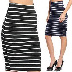 TheMogan Basic Striped Stretch Cotton Elastic Waist Knee Length Pencil Skirt