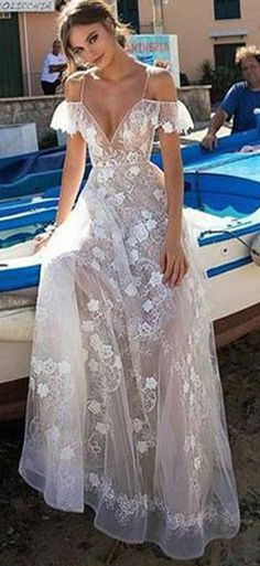 Unique White Spaghetti Straps Lace V-neck Long Off Shoulder Prom Dress #lace #princess #spaghettistraps #long #offshoulder #okdresses