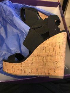 1923ab7a5e5f Madden Girl Women s Shoes Size 5.5 Eastt Cork Summer Strap Sandal Wedge  Black