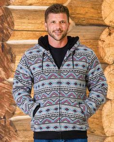"Blue Gear Heather Grey Southwest Print Sherpa-Lined Zip-up Hoodie  ""gifts for cowboys"" ""gifts for men"" drysdales.com western menswear for cowboys warm comfortable outerwear fall winter cold weather outdoors snow rain sleet wind rancher ranchwear rugged coat jacket vest pullover overcoat duster hoodie"