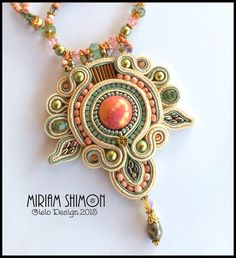 ON SALE Soutache Pendant Necklace in Cream Salmon by MiriamShimon