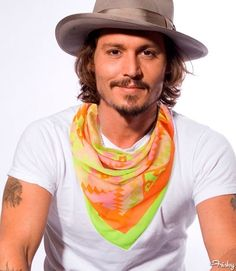 6 Spring Scarves Modeled By Johnny Depp: Neon Ganado Print Scarf