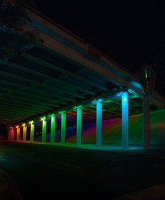 Light Channels, (Two underpasses varying in height from 7' -14' and approx. 120' in length), 2007, San Antonio, TX  Perforated aluminum, concrete, and computer controlled LED lights