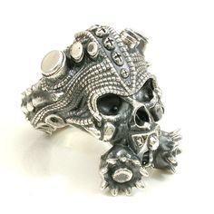 Steampunk Gas Mask Skull Ring Mens Sterling by SwankMetalsmithing