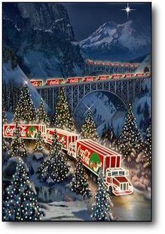 - Coca Cola - Idea of Coca Cola Coca Cola Bear, Coca Cola Santa, Coca Cola Christmas, Pepsi Cola, Christmas Train, Christmas Scenes, Merry Christmas, Vintage Christmas, Xmas