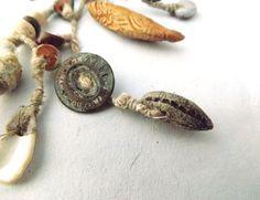 Tribal Artisan Drop Earrings Hemp ceramic by greybirdstudio, £40.00