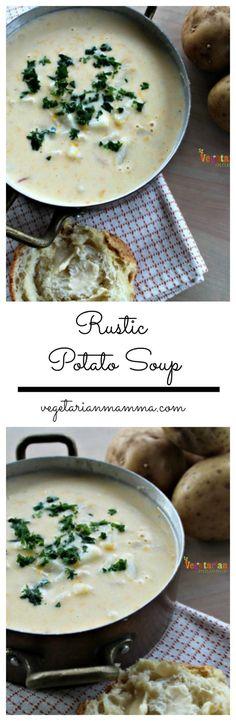Rustic Potato Soup I soup recipes I potato recipes I potato soup I gluten free recipes I vegetarian recipes I Vegetarian Mamma #souprecipes #glutenfreerecipes #vegetarianrecipes