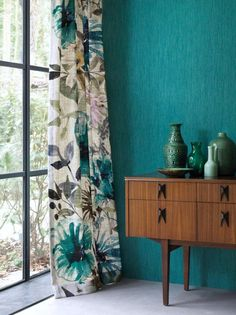 Turquoise Curtains, Green Curtains, Floral Curtains, Curtains Living, Colorful Curtains, Drapes Curtains, Bedroom Curtains, Pattern Curtains, Turquoise Walls
