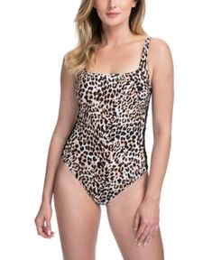 Profile by Gottex Floral Lace Side Inset High Neck Swimsuit