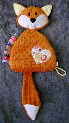 Fox, comforter, sensory toy, taggy by Supellek on Etsy https://www.etsy.com/listing/215251730/fox-comforter-sensory-toy-taggy