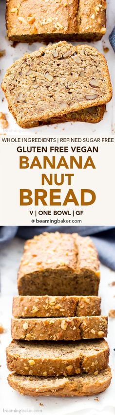 One Bowl Vegan Gluten Free Banana Nut Bread (V, GF, DF): an easy recipe for perfectly moist banana bread packed with walnuts and bursting banana flavor. Gluten Free Breakfasts, Gluten Free Desserts, Dairy Free Recipes, Vegan Desserts, Baking Recipes, Dessert Recipes, Bread Recipes, Recipes With Oat Flour, Muffin Recipes