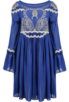 Blue Long Sleeve Lace Embroidered Pleated Dress 29.00