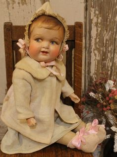 """Unusual 17"""" Early 1900's Composition Cloth Vintage Old Baby Doll Jointed"""