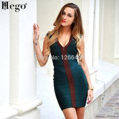 HEGO 2015 Autumn&Winter V Neck Stunning Dark green Front Zip Sexy Bandage Dress H044