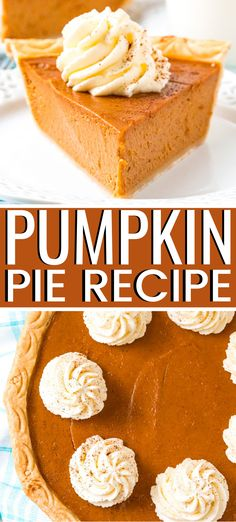 This Pumpkin Pie Recipe is perfect for fall and Thanksgiving! A smooth and creamy spiced pumpkin custard filling baked in a flaky pie crust. Low Carb Pumpkin Pie, Easy Pumpkin Pie, Vegan Pumpkin Pie, Pumpkin Pie Bars, Homemade Pumpkin Pie, Baked Pumpkin, Pumpkin Recipes, Pie Recipes, Dessert Recipes