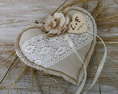 Anello nuziale cuscino rustico Anello cuscino cuscino cuore con girasole lino cuscino anello titolare Shabby chic cuscino