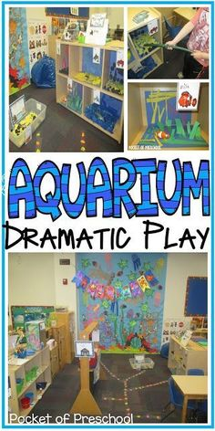 in the Dramatic Play Center perfect for an ocean theme. Pocket of PrescchoolAquarium in the Dramatic Play Center perfect for an ocean theme. Pocket of Prescchool Dramatic Play Themes, Dramatic Play Area, Dramatic Play Centers, Preschool Centers, Preschool Activities, Water Theme Preschool, Ocean Activities, Preschool Classroom, Summer Activities