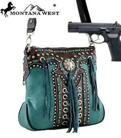 WANT!  Turquoise Concealed Weapon Cross Body Handbag