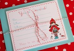 Little Red Riding Hood Party Invitations Pack by alittlesweetness, $14.00