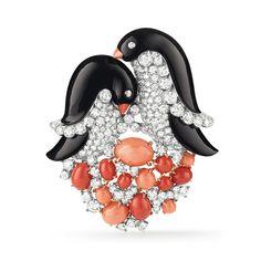 """Jeweled penguin clips - Join Noah's Ark with the Van Cleef & Arpels' sparkling parade of animals, """"L'Arche de Noé racontée par Van Cleef & Arpels"""". #VCAarchedenoé"""