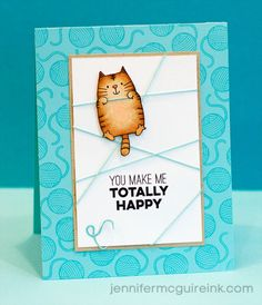 handmade card by Jennifer McGuire Ink ... totally cute cat on string wrapped panel ... balls of yarn tone on tone background ... Copic coloring ... delightful!!